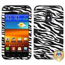 Samsung Galaxy S2 Epic 4G Touch D710 Sprint HARD & SOFT HYBRID CASE BLACK ZEBRA