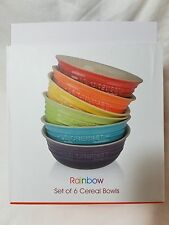 Le Creuset Set of 6 Cereal Bowls RAINBOW Stoneware Cook Pride Color NEW Box gift
