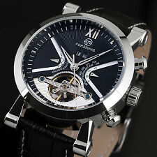 Tourbillon Classic Wrist Watch Men's Skeleton Automatic Mechanical Black Silver