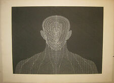 1971 HAROLD TOVISH 'Crystal' Linear Abstract Figure Lithograph - LISTED Sculptor
