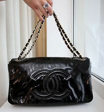 VERIFIED Authentic Never Worn Chanel Black Patent Vinyl Rock And Chain Flap Bag