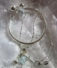 "Blue Ted Bell&cross//Sterling Silver16""CHAIN/925 STAMPED PLAIN BABY BANGLE/SALE"