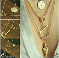New Design Gold Plated Finish Multilayer arrow Gold Coin Chain Pendant Necklace.