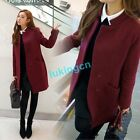 2016 New Arrival Womens Ladies Slim Wool Trench Coat Fitted Jacket Outwear Parka