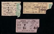 LOT OF 3 TICKETS 1944-45 PALESTINE JERUSALEM ORION, ZION & EDEN CINEMA JUDAICA