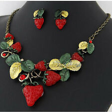 Cute Women Jewelry Resin Strawberry Choker Chunky Statement Bib Pendant Necklace