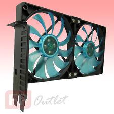 GELID PCI Slot Fan Holder 2x Slim Quiet 12cm UV Blue Case Mount VGA Card Cooler