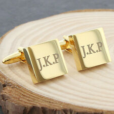 Personalised Engraved Mens Gold Plated Square Cufflinks Set - Gift for Him
