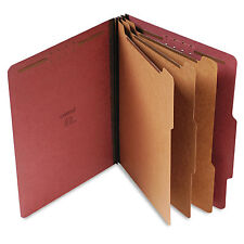 Universal Pressboard Classification Folder Letter Eight-Section Red 10/Box 10290