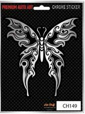 Tribal Butterfly Car Sticker - Chrome Tattoo style - Auto Decal
