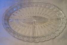 Vintage Oval Clear Cut Glass Divided Serving/Relish Dish - 3 Sections