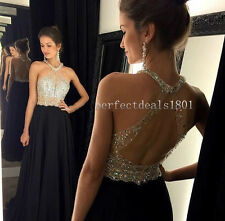 New Beading Backless Prom Dresses Long Vestidos Evening Formal Party Gown Custom