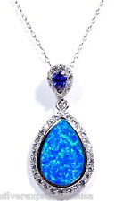Tanzanite & Blue Fire Opal Inlay Solid 925 Sterling Silver Pendant Necklace 18''