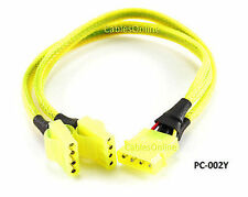 "11.8"" 4-Pin Molex Male to Dual Female Power Y Splitter w/ LED & UV Light"