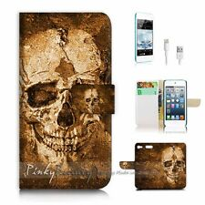 iPod Touch 6 iTouch 6 Flip Wallet Case Cover! P0800 Skull