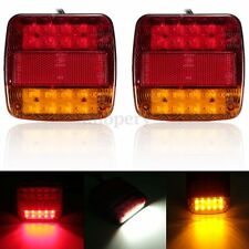 2x Trailer Truck 20 LED Taillight Brake Stop Turn Signal Number Plate Light Lamp