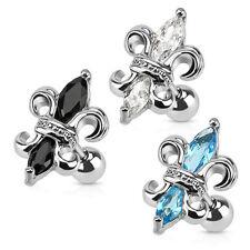 """3 Pc Mixed Color C.Z. Fleur De Lis Tragus Ear Cartilage piercing 16g 1/4"""""""
