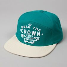 King Wear The Crown Supreme Turquoise Wool Flat Peak Snapback Hat Cap