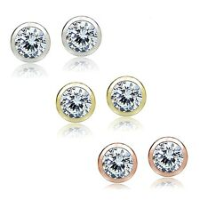 Sterling Silver 3ct Cubic Zirconia Bezel Set 5mm Stud Earrings, Set of 3