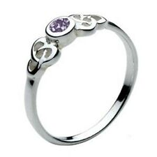 New Celtic Silver Round Trinity Knot Amethyst Stone Set Ring Celtic Jewellery