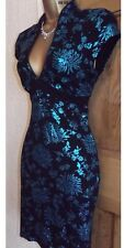 FAB ❤️ BNWT JANE NORMAN Black Turquoise oriental pencil wiggle dress size 8 - 10