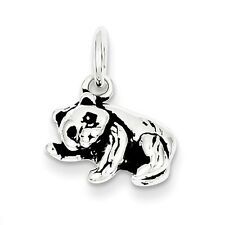 Panda Bear Pendant .925 Sterling Silver Antiqued Animal Charm
