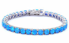 "14.5CT 4 Prong Blue Fire Opal .925 Sterling Silver Bracelet 8"" Long"