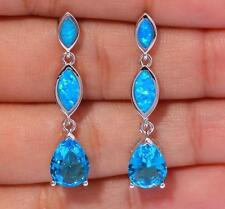 **NEW**Silver/Rhodium Plated BLUE  LAB FIRE OPAL/TOPAZ Stud Earrings 30x7mm