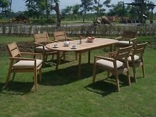 """7 PC OUTDOOR DINING TEAK SET - 94"""" DOUBLE EXTN OVAL TABLE, 6 STACKING CHAIRS CEL"""