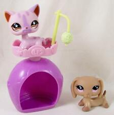 Littlest Pet Shop LPS Dachshund Dog 932 Cat 933 Tan Pink Purple Star Eyes Tower