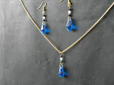 NE81 BLUE GLASS DROPPER NECKLACE & EARRINGS ON GOLD PLATED CHAIN & EARWIRES NEW