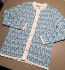 Vintage Bradley Knitwear Acrylic Sweater Knit Button Up Hipster Blue White Long