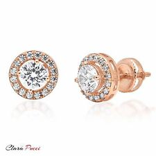 1.65 CT ROUND BRILLIANT CUT SOLITAIRE HALO STUD EARRINGS 14K ROSE GOLD