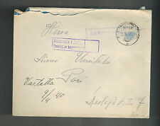 1940 Finland Army soldier Feldpost Stampless Cover to Pori Kentiposta