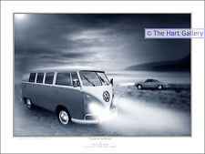 VW Volkswagen Split Screen Camper Van & Karmann Ghia Classic Car Print Picture