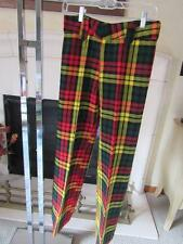 H.I.S. FOR HER Vtg 1960s Womens Wool PLAID Pants Slacks Red/Yellow/Black/Green
