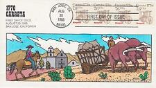 COLLINS HAND-PAINTED FDC FIRST DAY COVER 1988 1770 CARRETA OXEN & WAGON