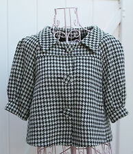 Necessary Objects by Ady Gluck-Frankel Houndstooth Short Sleeve Jacket, Medium