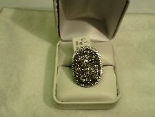14k Gold Oval Faceted Silver Drusy Quartz Ring  Size 6 $525 new