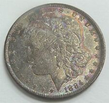 1884-O Morgan Silver Dollar Unique Rainbow Toned Purple & Blue's Circulated Cond