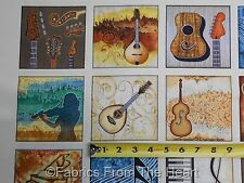 """Encore Guitars Piano Drums Music Instrustments 4"""" Blocks BY YARDS Cotton Fabric"""