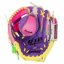 GIRLS Left Hand T-BALL BASEBALL GLOVE w Training Ball Pink Purple 9.5in Age 3-6