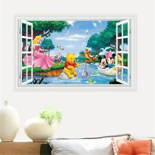 Princess Mickey Minnie Winnie Pooh 3D Window Wall Sticker PVC Decals Mural Decor