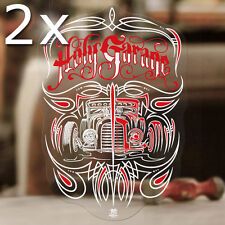 2x Stück Makoto Hot Rod Pinstriping Sticker Aufkleber Autocollant Old School rot