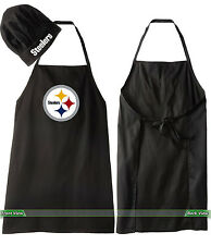 PITTSBURGH STEELERS COOKING APRON & CHEF HAT, NFL BARBECUE TAILGATING GEAR
