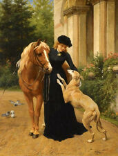 Oil painting George Augustus Holmes - Welcome home young girl with horse dog art