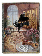 "THROWS - ""THE MUSIC SALON"" TAPESTRY THROW - PIANO - VIOLIN - THROW BLANKET"
