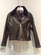NILS SPORTSWEAR~ Vegan/Faux Embossed Leather Sherpa Lined Front Zip Jacket Coat
