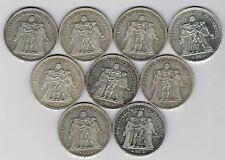 FRANCE - 9 PIECES DE 5 FRANCS DUPRE 1873.1874.1875.1876 A & K.1877 A ul 15.77.1
