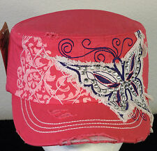 Rhinestone Butterfly Bling Patch Cadet Hat Women's - Pink